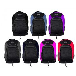 "24 Units of 19"" Bungee Mesh Bulk Backpacks in 7 Assorted Colors - School and Office Supply Gear"