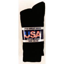 36 Units of Men's Black Tube Sock Cotton Bland Size 9-15 - Mens Crew Socks