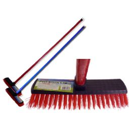 72 Units of Push Broom 1.1m Longred+blue Clr - Cleaning Products