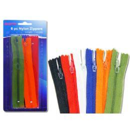 """96 Units of Zippers 6 Pc/pk 9"""" 6asst Clr - Sewing Supplies"""