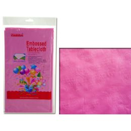 """96 Units of TABLECLOTH 54X108"""" PINKEMBOSSED FLOWER - Table Cloth"""