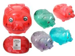 96 Units of Piggy Bang Clear Assorted Color - Coin Holders & Banks
