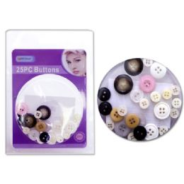 96 Units of BUTTONS 25PS/SET ASST CLRDOU BLISTER - SEWING BUTTONS