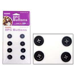 144 Units of Buttons 8pc White - Sewing Supplies
