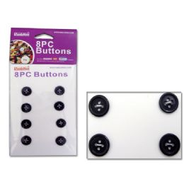 144 Units of BUTTONS 8PC/SET BLACK CLR 2.1X1.5CM - SEWING BUTTONS