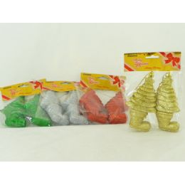 144 Units of Xmas Deco Hanging 2 Piece Assorted Color - Christmas Decorations
