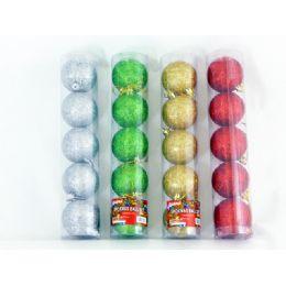 96 Units of XMS BALL 5PC/SET 6CM 4ASST CL - Christmas Ornament