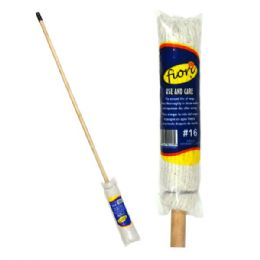 24 Units of Deck Mop Wood Stick 100% Cotton #16 - Cleaning Products