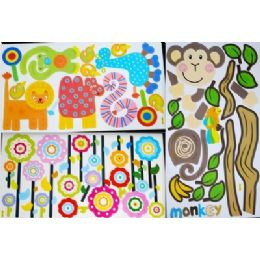 144 Units of Wall Sticker Assorted Style - Stickers