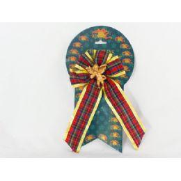 144 Units of 3 Asst Xmas Bow W/angeldecoration - Christmas Decorations