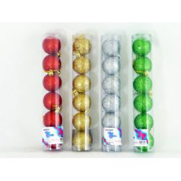144 Units of Xms Ball 6pc/set 5cm 4asst Clr - Christmas Ornament