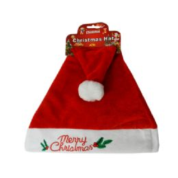 144 Units of Santa Christmas Hat With Stitching - Christmas Novelties