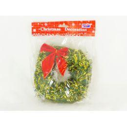 "144 Units of X-Mas Wreath 6"" 2/asst W/redbow - Christmas Decorations"