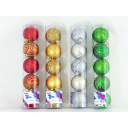 72 Units of Xms Ball 5pc/set 6cm W/glitter - Christmas Ornament