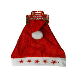 144 Units of Blinking Santa Christmas Hat Stars Light Up - Christmas Novelties