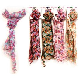 60 Units of Light Weight Scarves With Flower - Womens Fashion Scarves