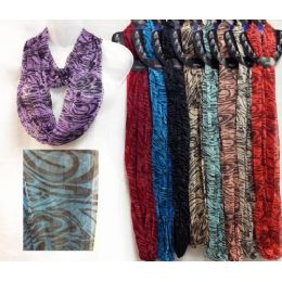 48 Units of Light Weight Infinity Scarves With Black Stripes - Womens Fashion Scarves