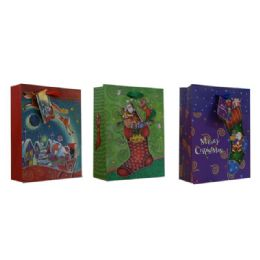 144 Units of BAG L XMS GL 34X26X12 3ASST DESIGN - Christmas Gift Bags and Boxes