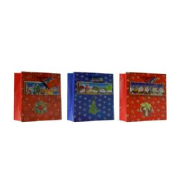 108 Units of Christmas Wide Sized Gift Bag 36X27X12.5 3ASST DESIGN - Christmas Gift Bags and Boxes