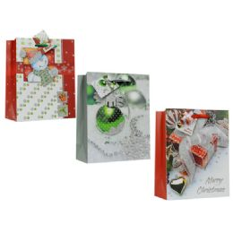 144 Units of Bag M Xms 3d 23x18x10 3asst Design - Christmas Gift Bags and Boxes