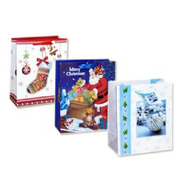 144 Units of Bag M Xms Gl 23x18x10 3asst Design - Christmas Gift Bags and Boxes