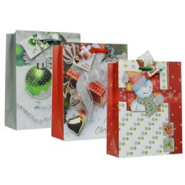 108 Units of Bag L Xms 3d 34x26x12 3asst Design - Christmas Gift Bags and Boxes