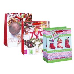 96 Units of Bag L Xms Gl 32x26x12 3asst Design - Christmas Gift Bags and Boxes