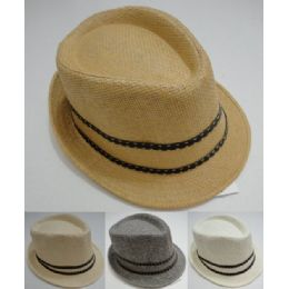 48 Units of Fedora Hat- Woven With Leather-Like Hat Band - Fedoras, Driver Caps & Visor