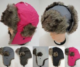 24 Units of Aviator Hat with Fur Trim--Solid Color - Trapper Hats