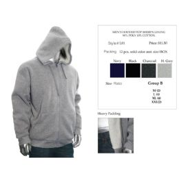 12 Units of Mens Hooded Top Sherpa Lining 90% Poly 10% Cotton - Mens Sweat Shirt