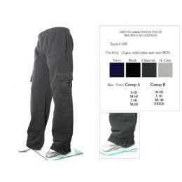 12 Units of Mens Cargo Sweat Pants 90% Poly 10% Cotton Assorted - Mens Sweatpants