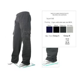 12 Units of Mens Cargo Sweat Pants 90% Poly 10% Cotton Assorted - Mens Sweatpants