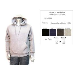12 Units of Mens Full Zip Hoodie Assorted Colors - Mens Sweat Shirt