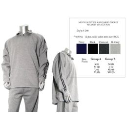12 Units of Mens 1/4 Zip Top Kangaroo Pocket 90% Poly 10% Cotton - Mens Sweat Shirt