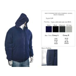 12 Units of Mens Hooded Top With Thermal Lining Heavy Padding - Mens Sweat Shirt