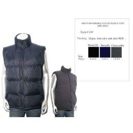 24 Units of Mens Reversible Nylon Fleece Vest 100% Poly - Mens Jackets