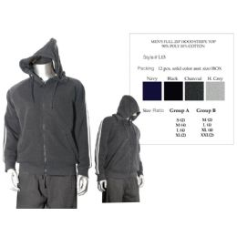 12 Units of Mens Full Zip Hood Stripe Top 90% Poly 10% Cotton - Mens Sweat Shirt