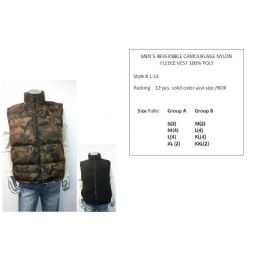 12 Units of Mens Reversible Camouflage Nylon Fleece Vest 100% Poly - Mens Jackets