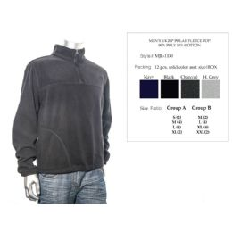 12 Units of Mens 1/4 Zip Polar Fleece Top 90% Poly 10% Cotton - Mens Sweat Shirt