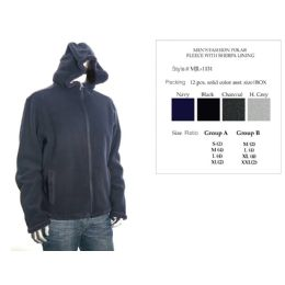 12 Units of Mens Fashion Polar Fleece With Sherpa Lining Assorted Colors - Mens Sweat Shirt