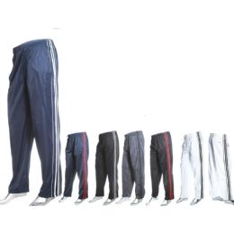 12 Units of Mens Fashion Track Pants Tricot Dazzle 100% Poly - Mens Sweatpants
