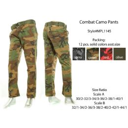 12 Units of Mens Combat Camo Pants