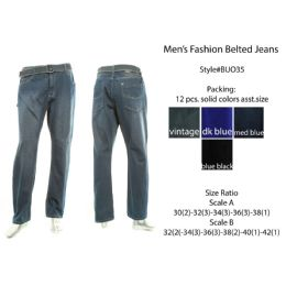 12 Units of Mens Fashion Belted Jeans - Mens Jeans
