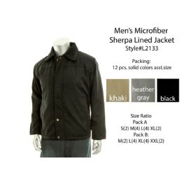 12 Units of Mens Microfiber Sherpa Lined Winter Jacket - Men's Winter Jackets