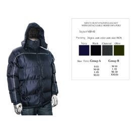 24 Units of Mens Heavy Padding Jacket With Detachable Hood 100% Poly - Men's Winter Jackets
