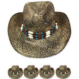 24 Units of Black Straw Cowboy Hat - Cowboy & Boonie Hat