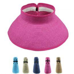 24 Units of Foldable Women's Straw Sun Visor - Sun Hats