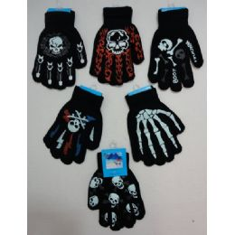 36 Units of Boys Printed Gloves - Knitted Stretch Gloves