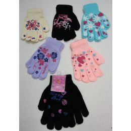 48 Units of Girls Printed Winter Gloves - Knitted Stretch Gloves