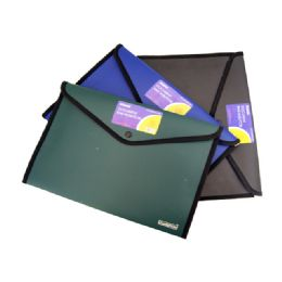 96 Units of Document Bag W/button Solid Color - Folders and Report Covers